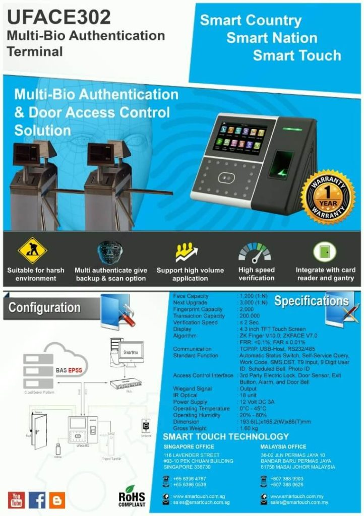 The Best uFace302 Zkteco Face Recognition For Attendance System