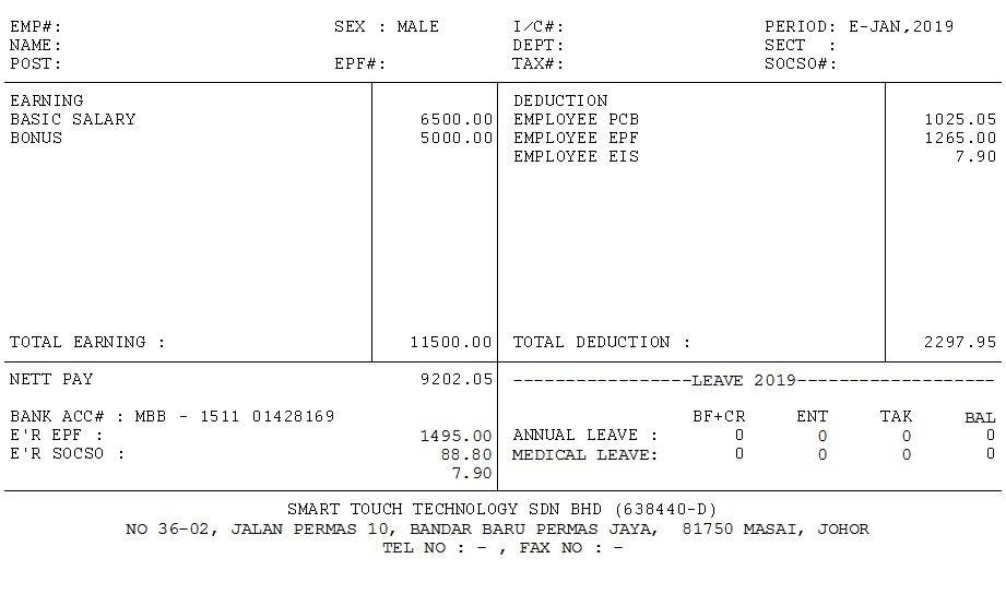 salary slip template in excel malaysia